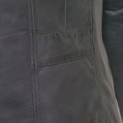 Womens Cayla grey leather biker jacket back detail