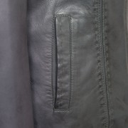 Womens Grey leather jacket May pocket detail