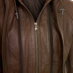 Womens Leather brown jacket Heidi zip detail