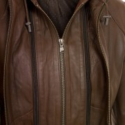 Womens Leather brown jacket Heidi zip detail