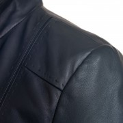 Womens May navy leather jacket shoulder detail