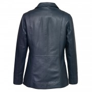 Womens Navy Leather jacket Maggie