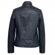 Womens Navy leather jacket May back image