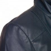Womens Navy leather jacket May shoulder