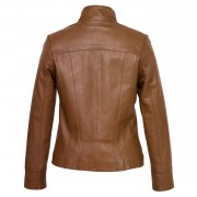 Womens Tan leather jacket May Back