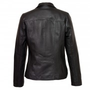 Womens black leather coat Cayla Back
