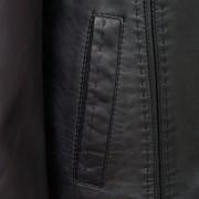 Womens black leather coat pocket detail Maggie