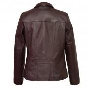 Womens burgundy leather biker jacket Cayla back