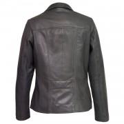 Womens grey leather biker jacket cayla back