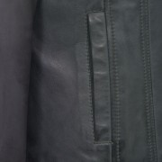 Womens grey leather biker jacket pocket detail Cayla