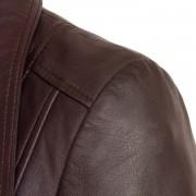 Womens leather biker jacket Cayla burgundy shoulder detail