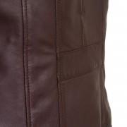 Womens leather biker jacket burgundy back detail Cayla