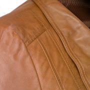 womens leather tan jacket shoulder detail cayla