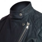 ladies navy leather biker jacker lisa collar detail