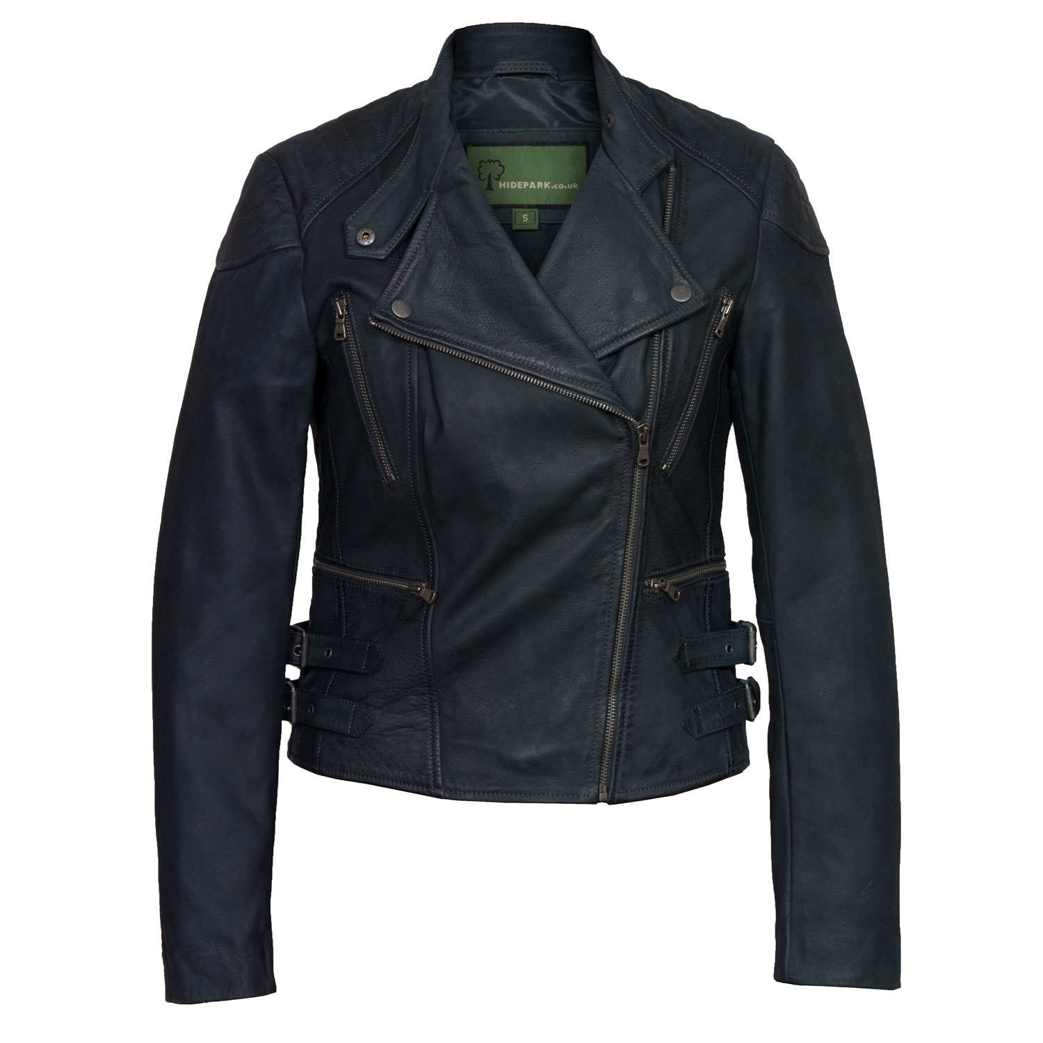 womens navy leather biker jacker lisa