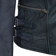 womens navy leather biker jacket lisa buckle detail