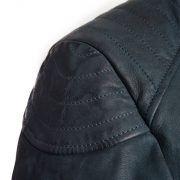 navy leather biker jacker lisa shoulder detail
