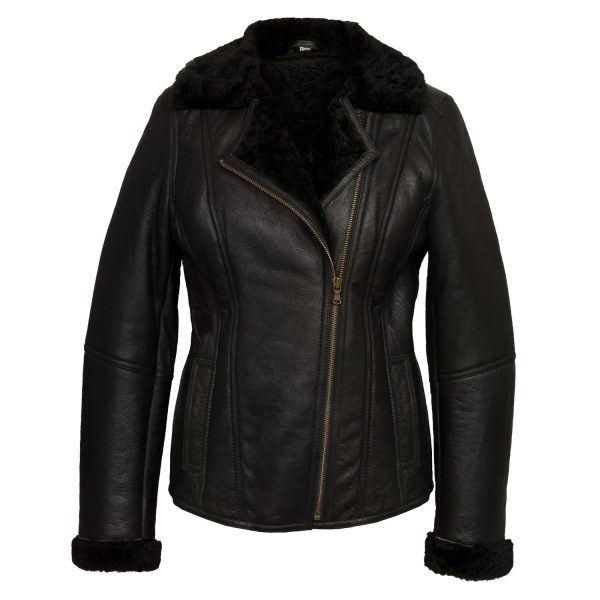 Ella Ladies Black sheepskin flying jacket front