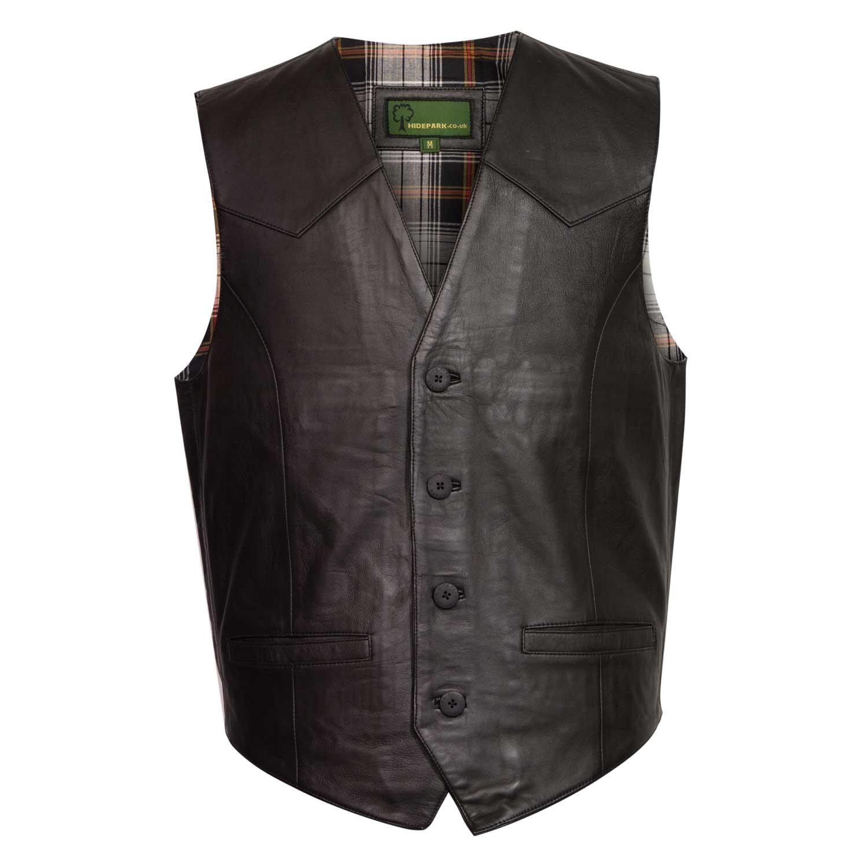 gents black leather waistcoat