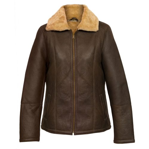 ladies brown sheepskin flying jacket gillian