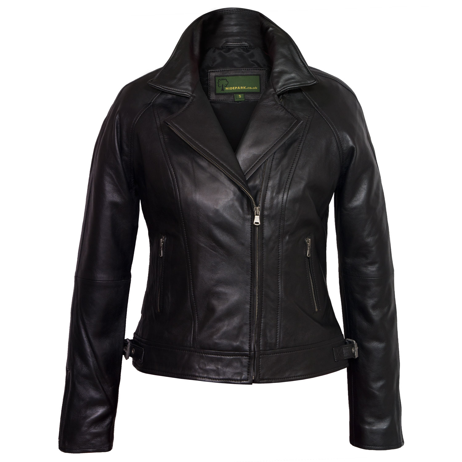 ladies black leather jacket viki