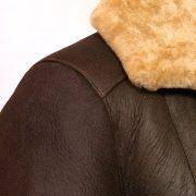 womens brown sheepskin flying jacket collar detail gillian