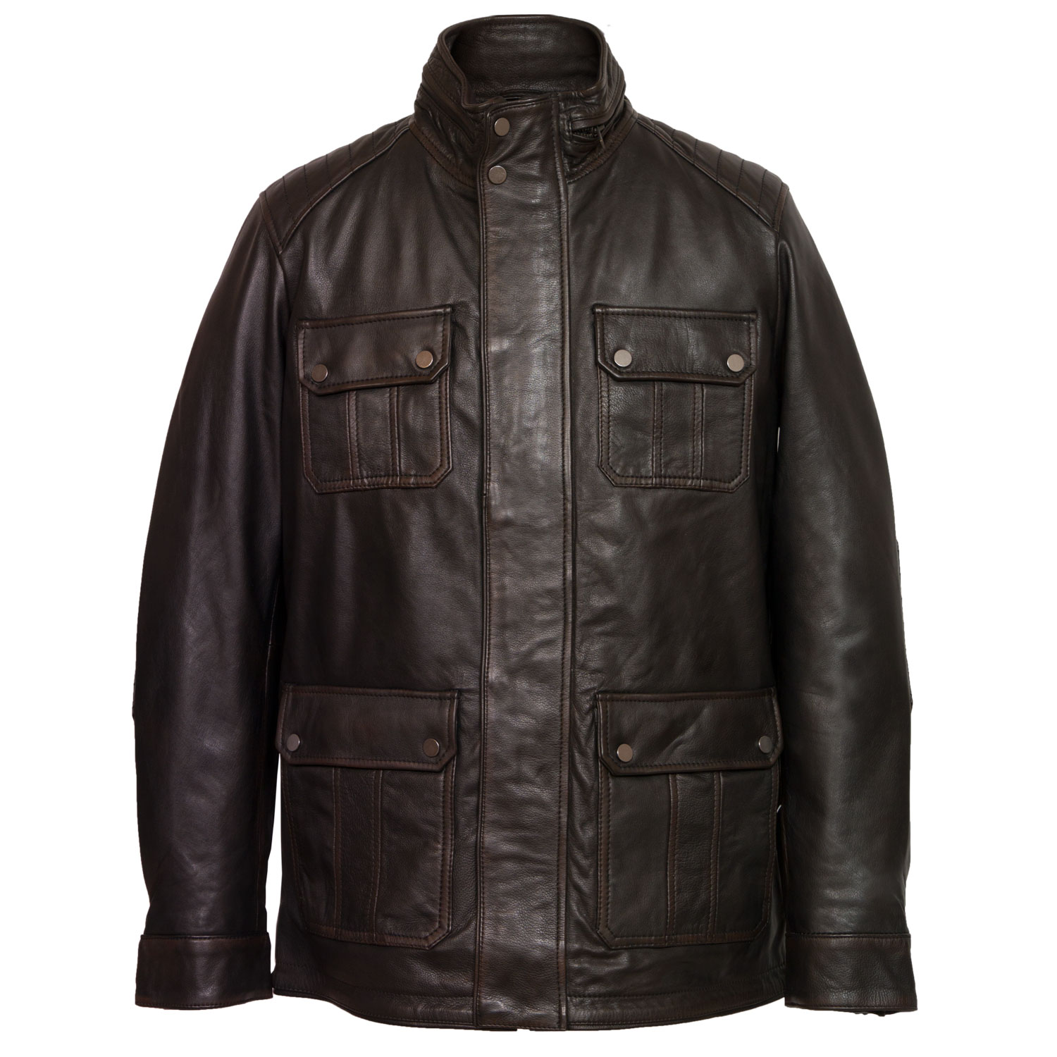 gents brett leather jacket black antique