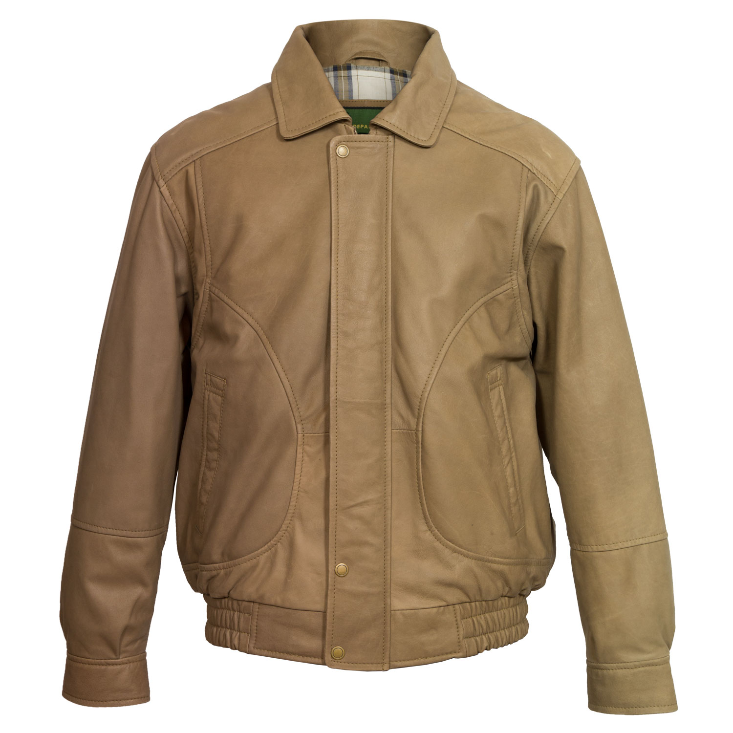 Men's Brown Leather Blouson Jacket