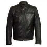 gents leather jacket black budd