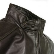 gents loden leather jacket collar detail