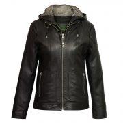 Women's Black Hooded Leather Jacket: Heidi