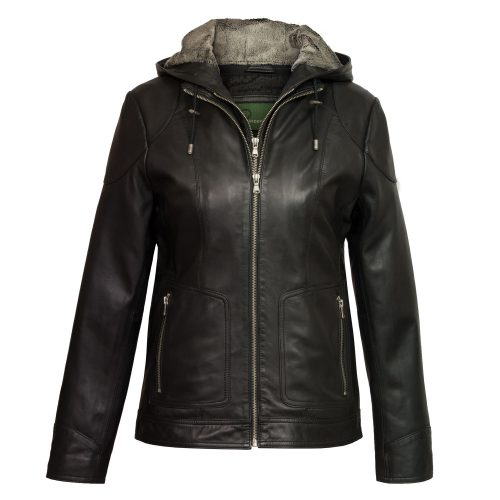 Women's Black Hooded Leather Jacket: Heidi