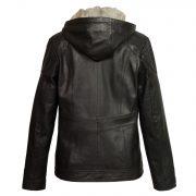 ladies black hooded leather jacket heidi