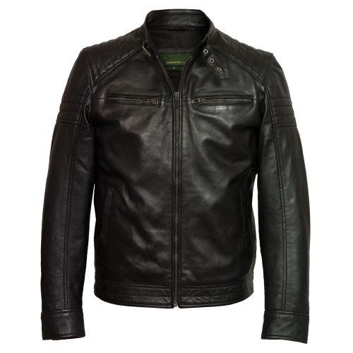 mens black leather jacket budd