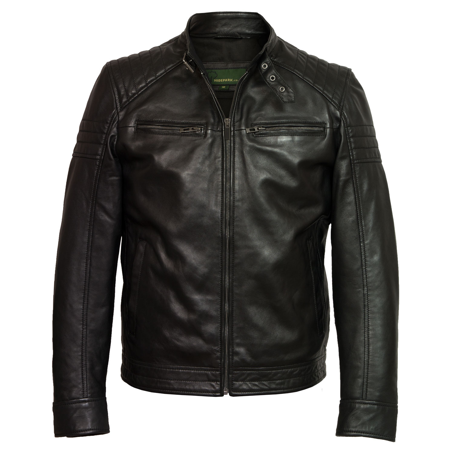mens black leather jacket budd