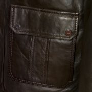 mens budd brown leather coat pocket detail