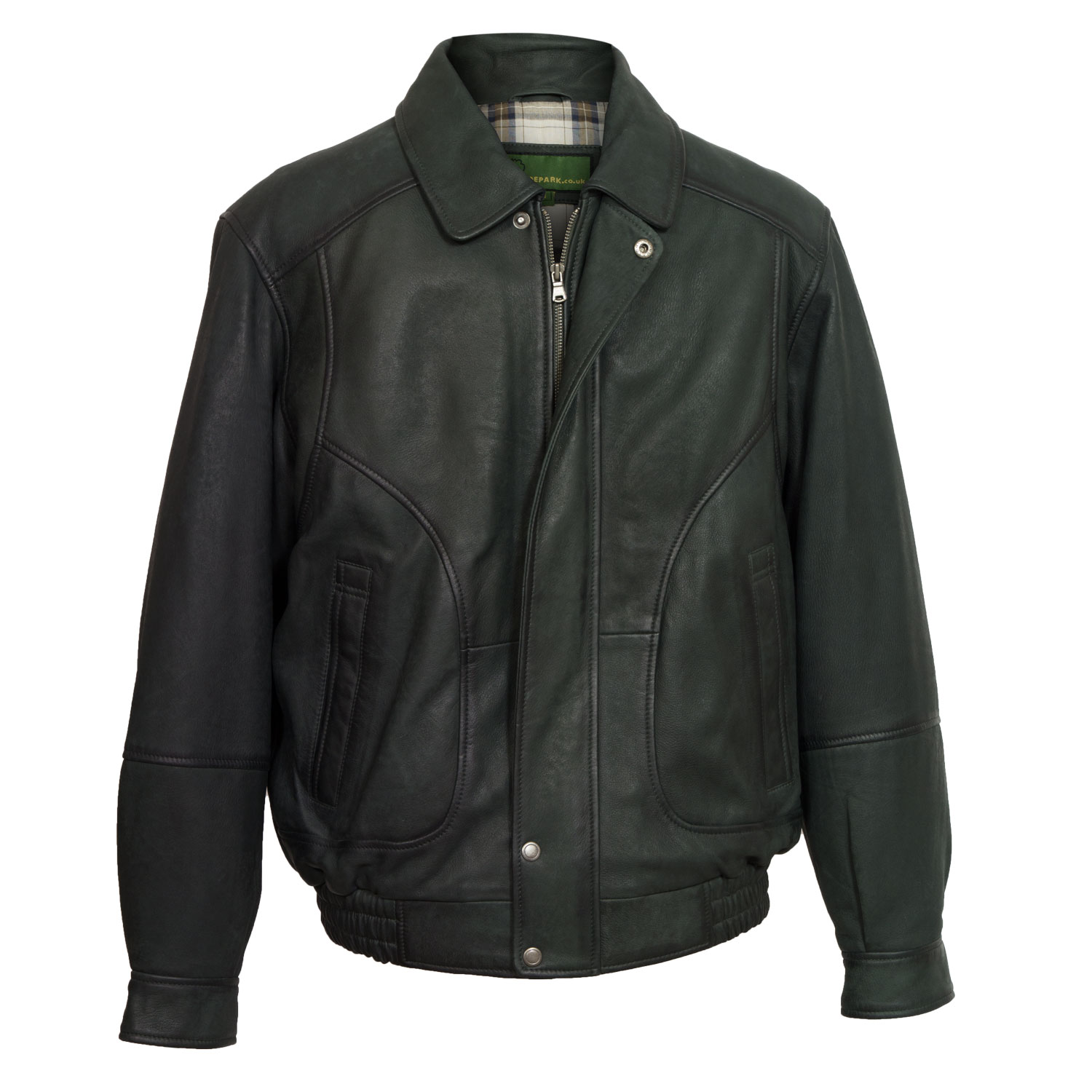 Men's Grey Leather Blouson Jacket