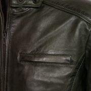 mens rik loden leather jacket chest pocket detail