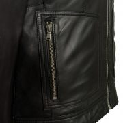 womens black hooded leather jacket heidi pocket detail