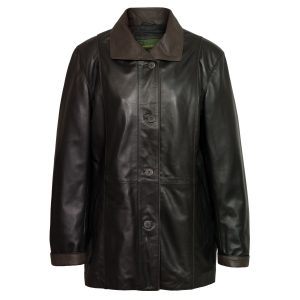 Women's Black Leather Coat: Tara