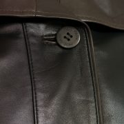 womens leather coat black with brown tara button detail