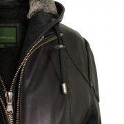 womens leather hooded jacket black hood close up heidi