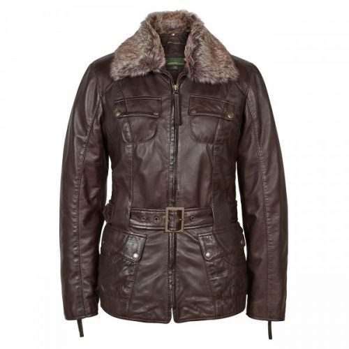 Ladies Leather flying jacket Brown Lara