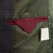 Blue tweed blazer Lomond inside pocket detail