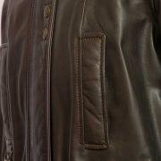Ladies Brown leather Hunter coat zip and pocket detail