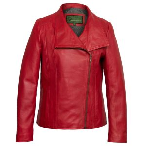Women's Red Leather Biker Jacket: Cayla
