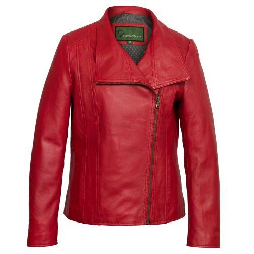 Women's Red Leather Biker Jacket: Cayla
