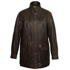 Women's Brown Long Leather Coat: Hunter