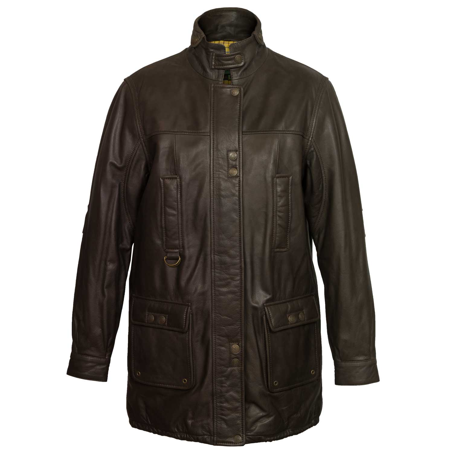 Women's Brown Long Leather Coat: Hunter