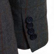 Ladies Lomond Blue Tweed Blazer cuff detail